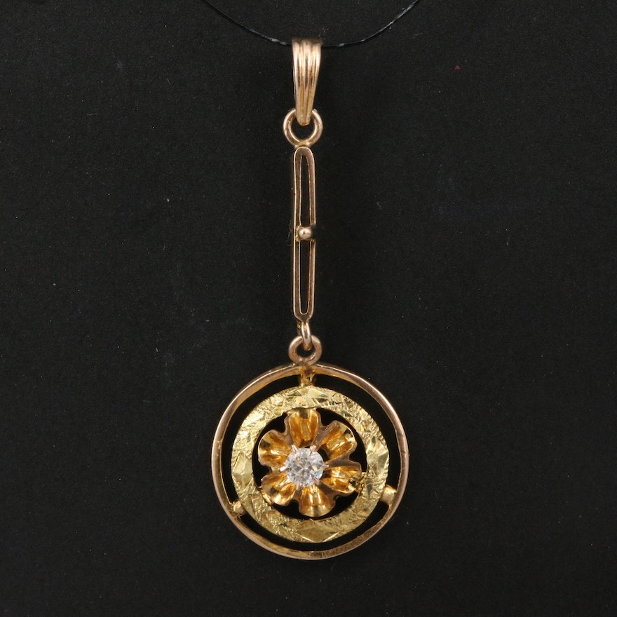 Arts and Crafts 10K Tri-Color Gold Diamond Pendant with Buttercup Setting