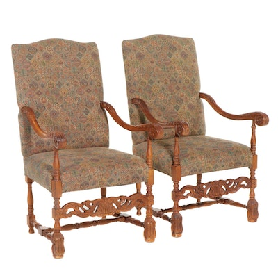 Pair of Sam Moore William and Mary Style Upholstered Open Armchairs