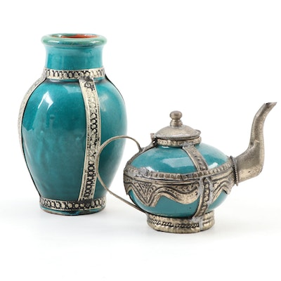 Earthenware Teapot and Vase with Metal Overlay