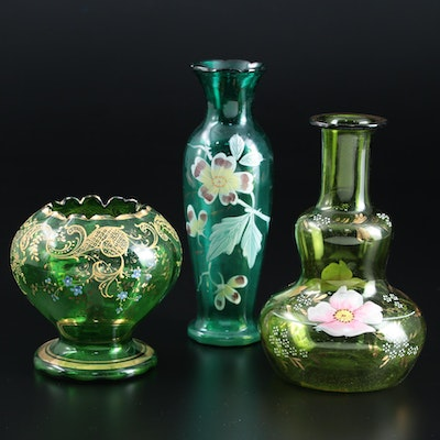 Bohemian Style and Other Green Glass Enameled  Vases, Late 19th/ Early 20th C.