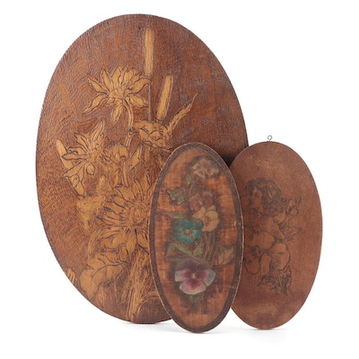 Victorian Style Floral Motif Pyrography and Stained Wood Wall Hangings