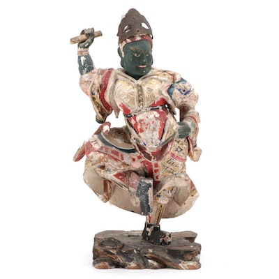 Japanese Polychrome Wood Figure of Dancing Temple Guardian