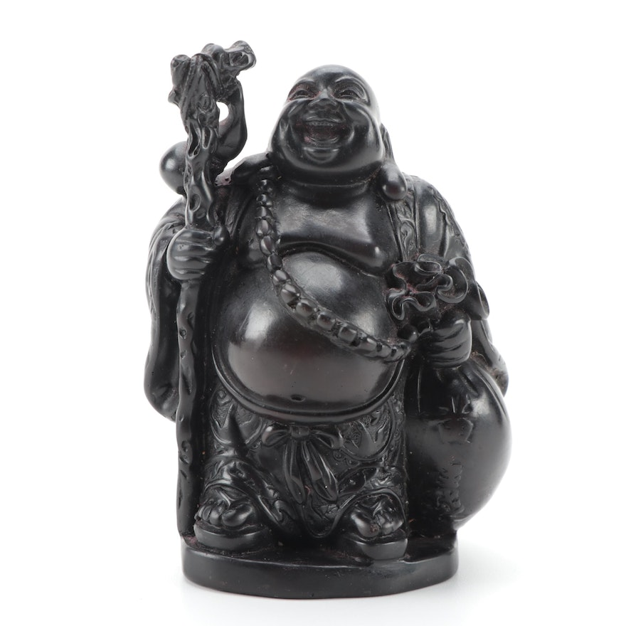 Chinese Black Lacquered Carved Wood Traveling Buddha Figurine