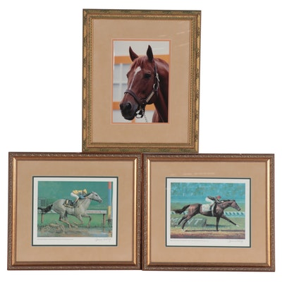 Jenness Cortez Offset Lithographs and Equestrian Photograph, Late 20th Century