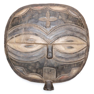 Teke Style Wooden Double Sided Mask Form Sculpture, Republic of the Congo