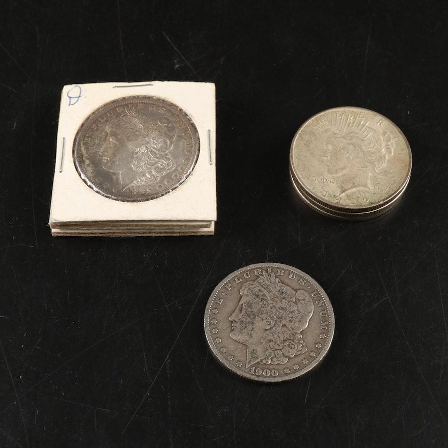 Peace and Morgan Silver Dollar Coins