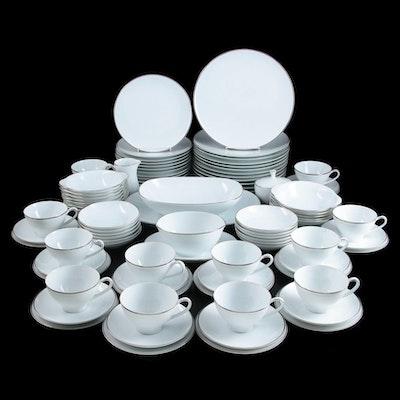 "Noritake ""Fremont"" Platinum Rimmed Porcelain Dinnerware, Late 20th Century"