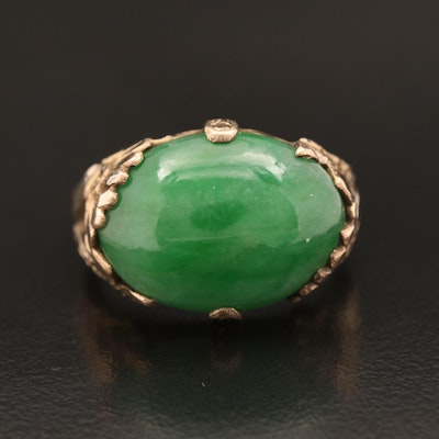 Vintage 10K Jadeite Etched Foliate Ring