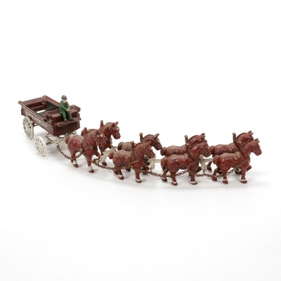 """Sunny Brook Farms"" Iron Horse Drawn Wagon Toy"