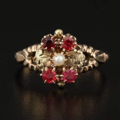 Vintage 10K Rose Gold Pearl and Garnet Glass Doublet Ring