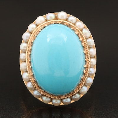 Vintage 14K Turquoise and Pearl Cocktail Ring