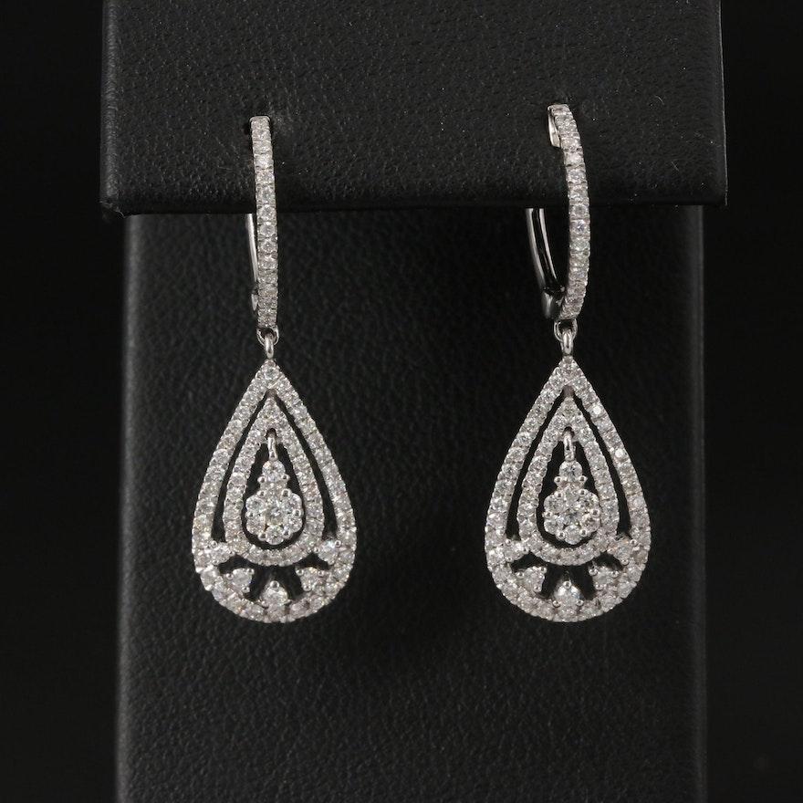 18K 1.11 CTW Diamond Drop Earrings