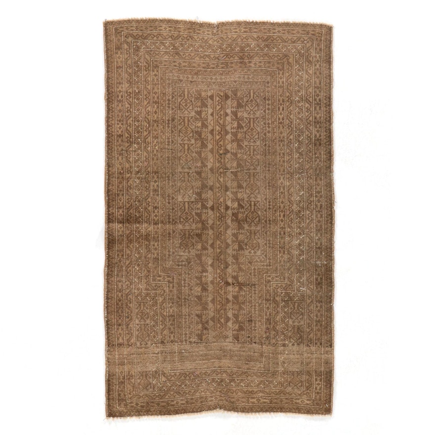 2'10 x 4'9 Hand-Knotted Afghan Tribal Baluch Wool Accent Rug