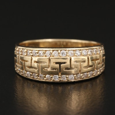 14K Cubic Zirconia Greek Key Band