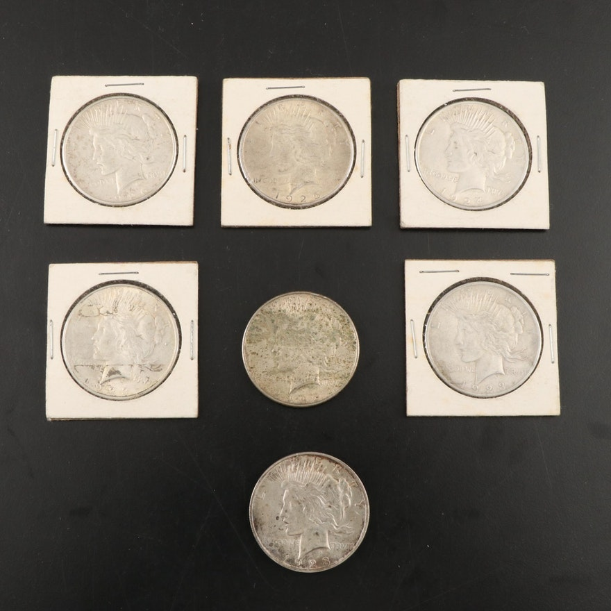 Seven Peace Silver Dollars
