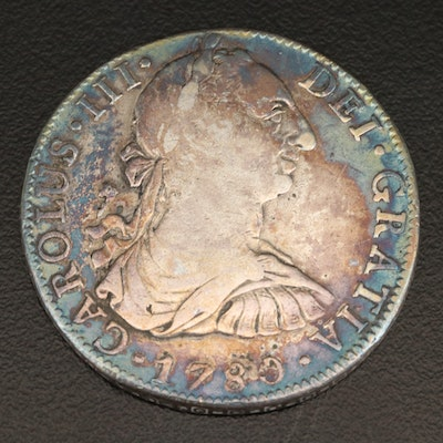 Toned 1780 Spanish Colonial (Mexico) 8 Reales Silver Coin