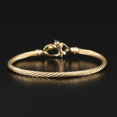 Guy Beard Designs 14K Cable Bracelet with Mariner's Clasp and Sapphire Accent