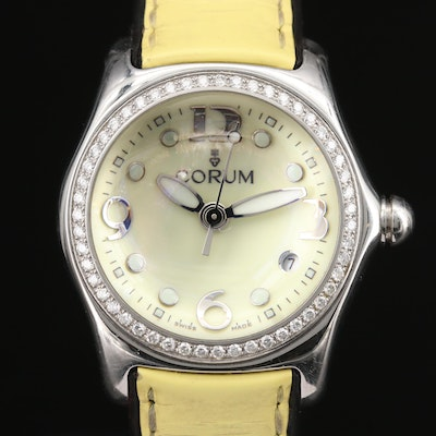 "Corum ""Bubble"" Diamond and Stainless Steel Quartz Wristwatch"
