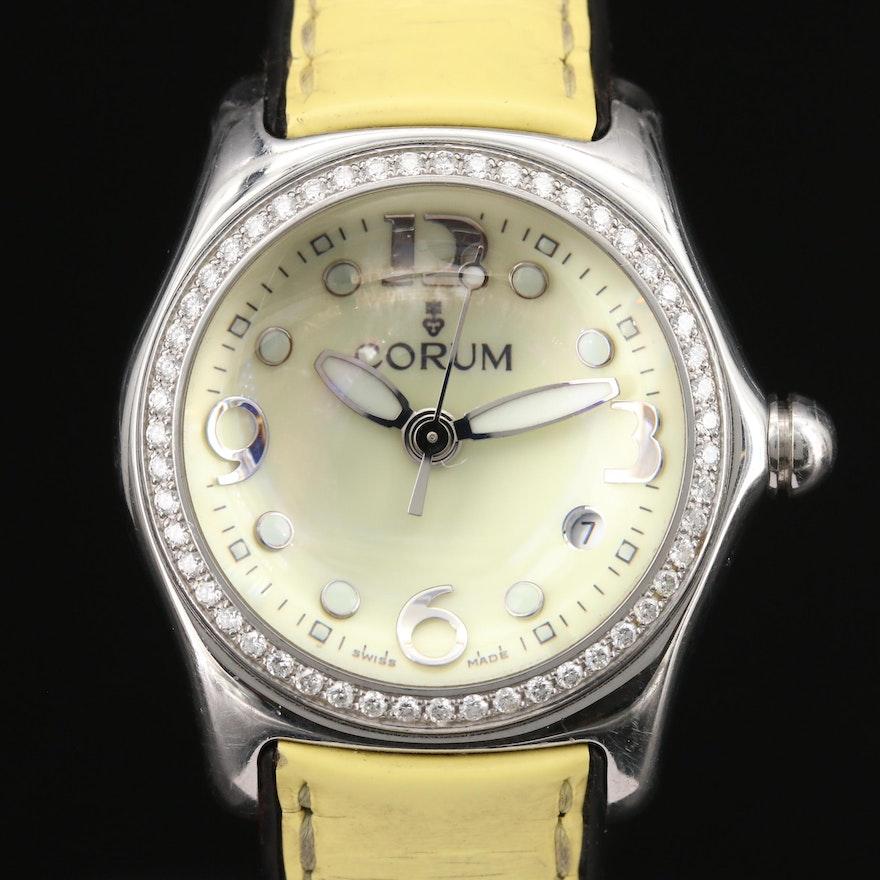 "Corum ""Bubble"" Diamond and Stainless Steel Quartz Wristwatch"
