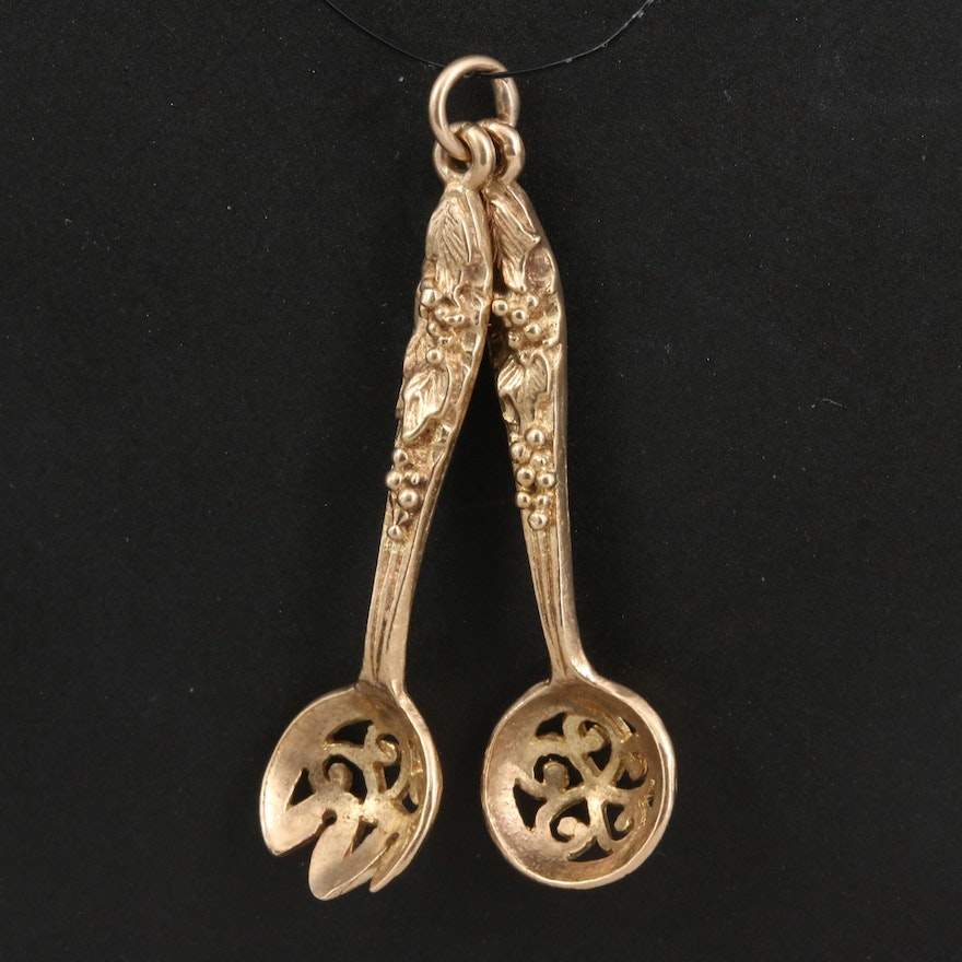 Vintage 9K Spork and Spoon Charm