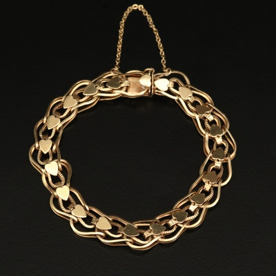 14K Link Bracelet with Heart Pattern