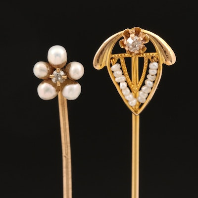 Vintage 10K Shield and Antique 14K Flower Diamond and Pearl Stick Pins