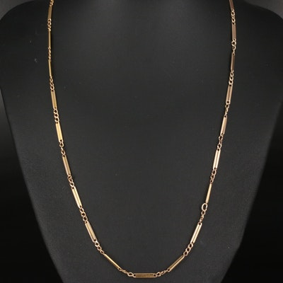 14K Bar and Curb Link Necklace