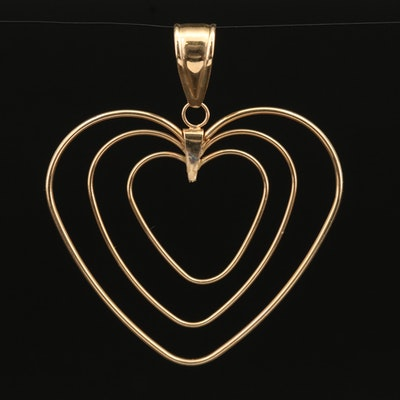 14K Concentric Hearts Pendant