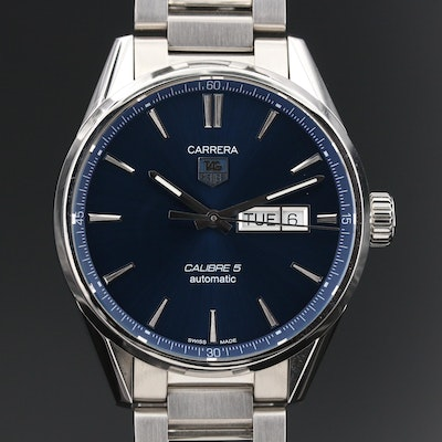 "TAG Heuer ""Carrera Calibre 5"" Day-Date Stainless Steel Automatic Wristwatch"