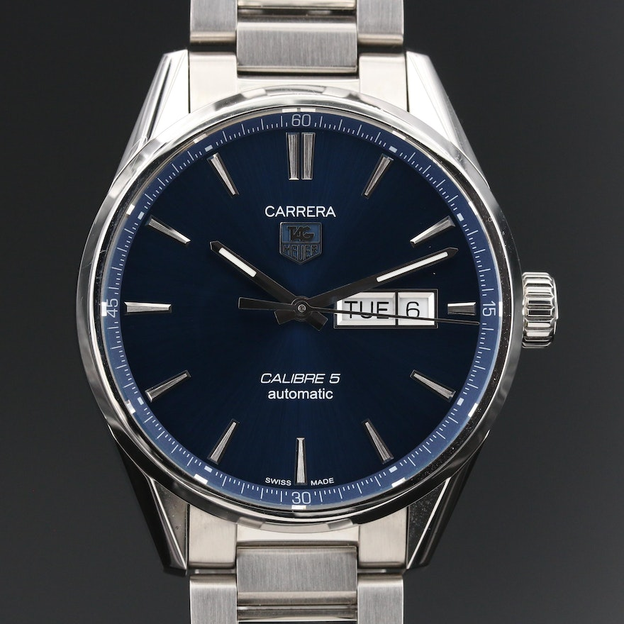 """TAG Heuer """"Carrera Calibre 5"""" Day-Date Stainless Steel Automatic Wristwatch"""