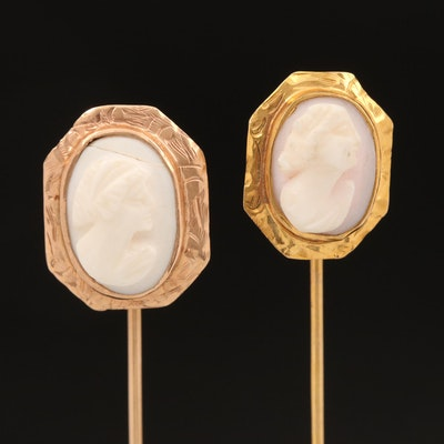 Vintage 10K Shell Cameo Stick Pins with Etched Frames