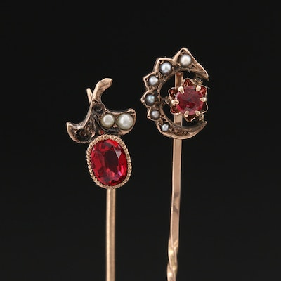 Victorian 9K Stick Pins with Garnet Doublets and Pearls