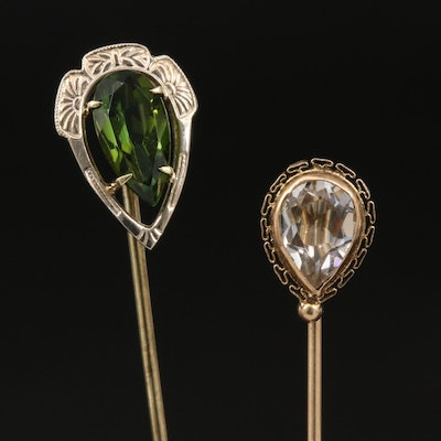 Vintage 14K Tourmaline Stick Pin with 10K Glass Stick Pin