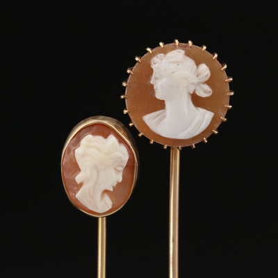 Vintage 14K Carved Shell Cameo Stick Pins