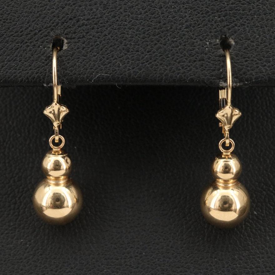 14K Double Bead Drop Earrings