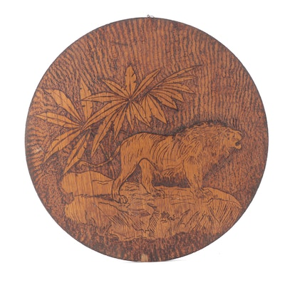 Pyrography and Stained Wine Barrel Lid Wall Hanging with Lion Wildlife Scene