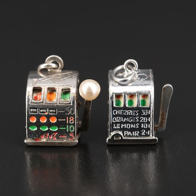 Vintage Sterling Articulated Enamel and Faux Pearl Slot Machine Pendant Charms