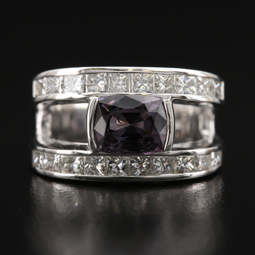 Contemporary 18K 2.24 CT Spinel and 1.40 CTW Diamond Split Shank Ring