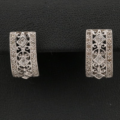 14K Diamond Half Hoop Openwork Earrings