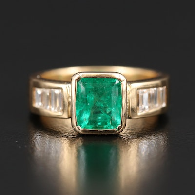 18K 2.00 CT Emerald and Diamond Ring