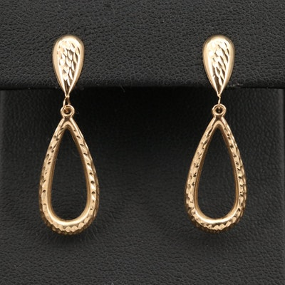 14K Textured Teardrop Earrings
