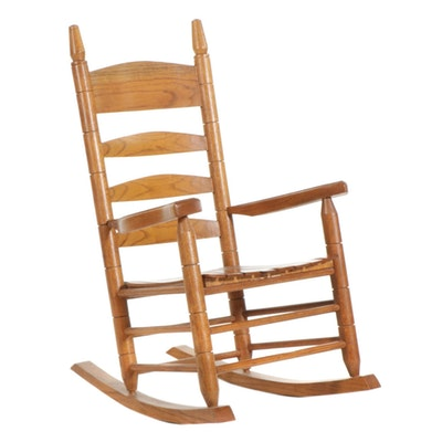 Oak Ladder-Back Rocking Chair, Late 20th Century