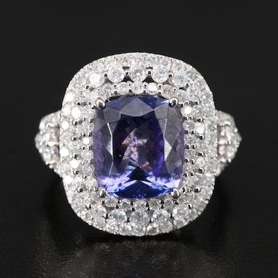 18K Tanzanite and 1.66 CTW Triple Halo Diamond Ring
