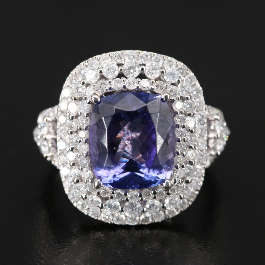 18K Tanzanite and 1.66 CTW Triple Halo Diamond Ring