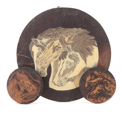 Flemish Art Co. Pyrography and Painted Wood Horse Motif Wall Hangings