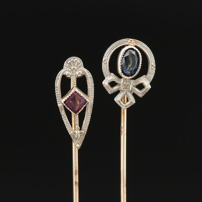 Antique 10K Glass Stick Pins