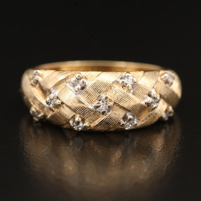 14K Diamond Woven Style Ring with Textured Finish