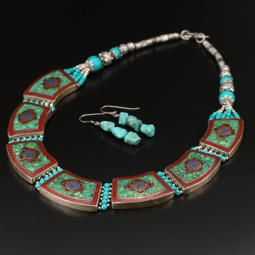 Howlite and Stone Mosaic Inlay Panel Link Necklace with Earrings