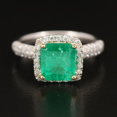 18K Emerald and Diamond Ring with Pavé Shoulders