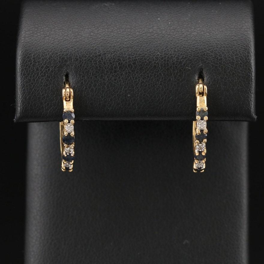 Sterling Corundum and  Diamond Hoop Earrings